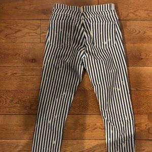 Pin striped Zara Skinny Jeans - Knee Rips Size 10